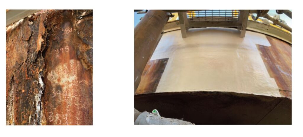 Process vessel experienced a brick and mortar lining failure.